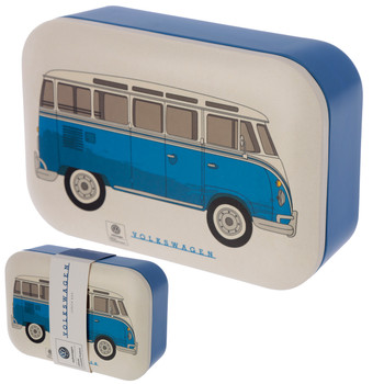 Volkswagen Blue Campervan Bamboo Lunch Box