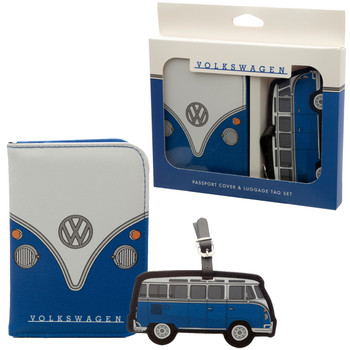 Volkswagen Blue Campervan Passport & Luggage Tag Set