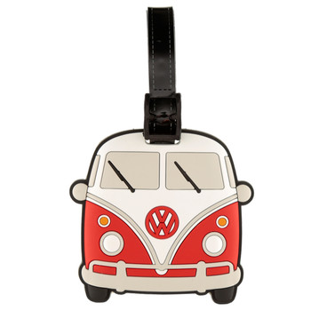 Volkswagen Red Campervan PVC Luggage Tag