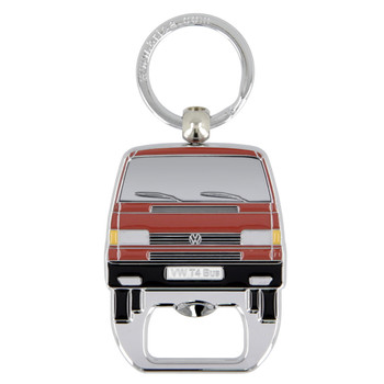 VW T4 Campervan Metal Bottle Opener Keyring - Red