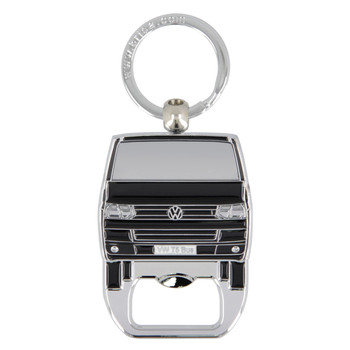 VW T5 Campervan Metal Bottle Opener Keyring - Black