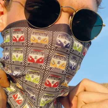 Volkswagen Campervan Black Multi Coloured Face Mask Scarf