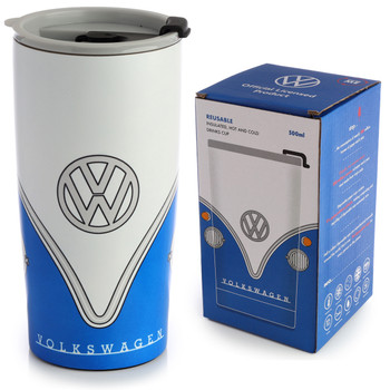 Volkswagen Blue Campervan Insulated Travel Mug
