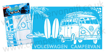 VW Campervan Surf Sketch Blue Tea Towel