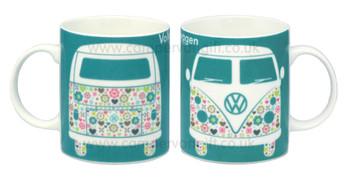 VW Flower Patterned Campervan Mug