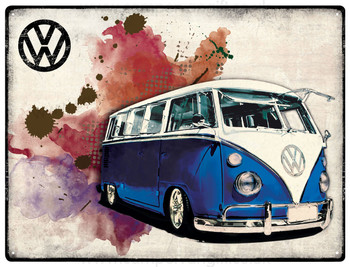 VW Dark Blue Campervan Grunge Metal Sign