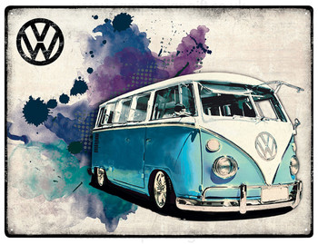 VW Light Blue Campervan Grunge Metal Sign