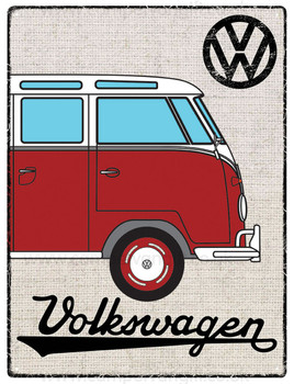 VW Red Campervan Hessian Metal Sign