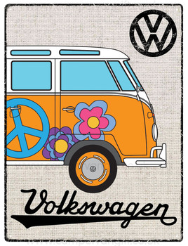 VW Orange Campervan Hessian Metal Sign