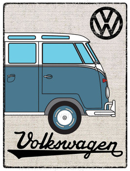 VW Blue Campervan Hessian Metal Sign