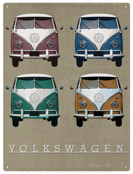 VW Vintage Quad Campervan Metal Sign