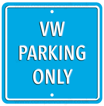 VW Parking Only Light Blue Square Metal Sign