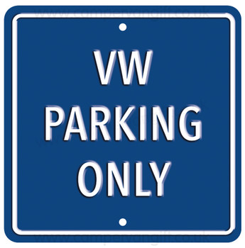 VW Parking Only Dark Blue Square Metal Sign