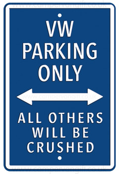VW Parking Only Dark Blue Metal Sign