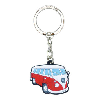 VW Campervan Rubber Keyring - Side View - Red