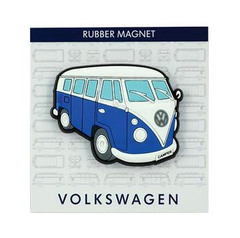 VW Campervan Rubber Fridge Magnet - Side View - Blue