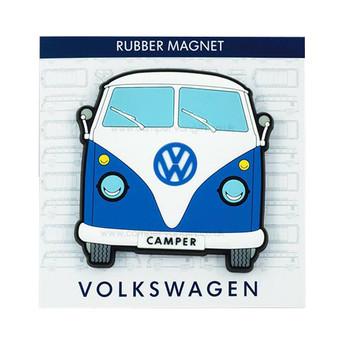 VW Campervan Rubber Fridge Magnet - Front View - Blue