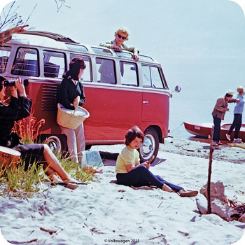 VW Red Campervan At The Beach Single Coaster