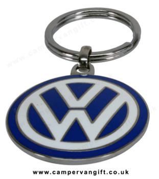 VW Logo Keyring - VW Blue Enamel Keyring Double Sided - SMALL 3cm