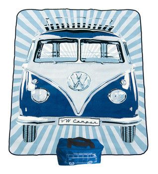 VW Campervan Picnic Blanket with Blue Camper Carry Case