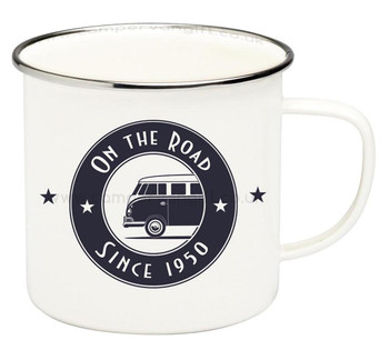 VW T1 Campervan On The Road Enamel Tin Mug