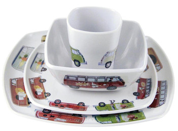 VW T1 Campervan Melamine 4 Piece Tableware Set