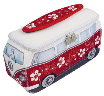 VW Red Flowers Campervan Universal Neoprene Wash Bag