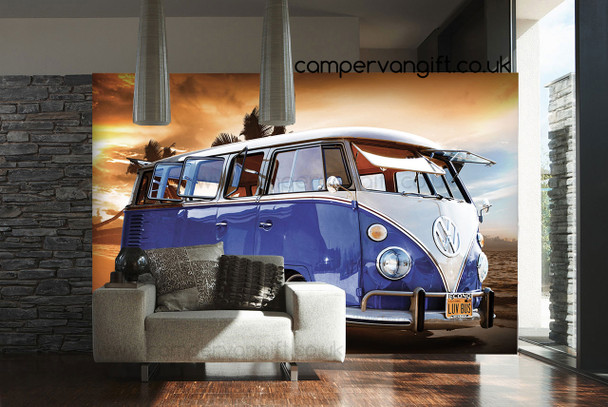 Blue Campervan Sunset Giant Wallpaper VW Wall Mural