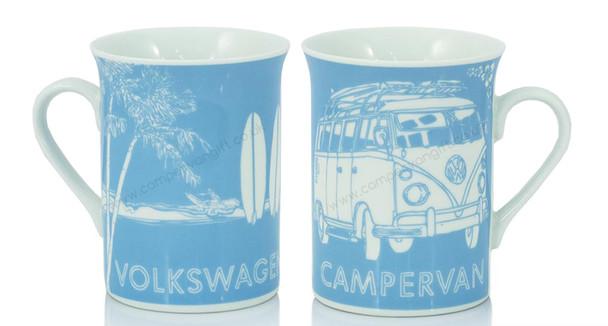 VW Campervan Surf Sketch Blue Coffee Mug