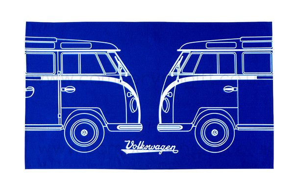 VW Dual Split Campervan Blueprint Tea Towel