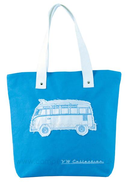 VW Campervan Light Blue Canvas Shopper Bag