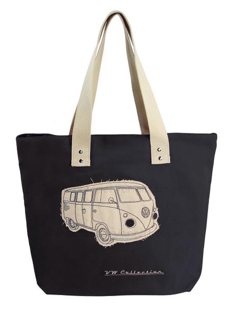 VW Campervan Black Canvas Shopper Bag