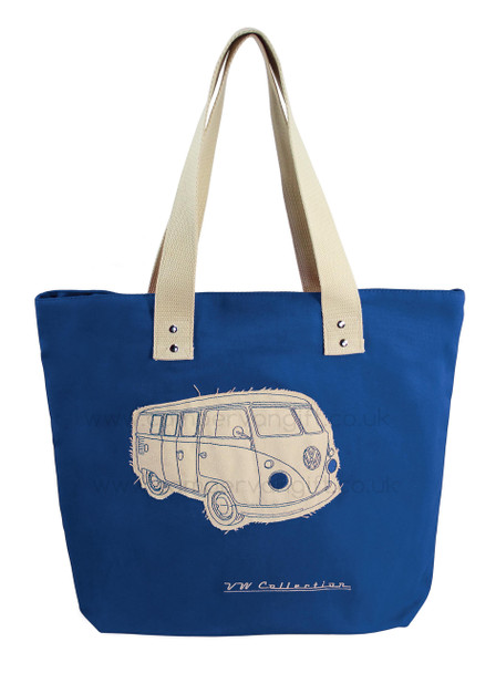 VW Campervan Blue Canvas Shopper Bag