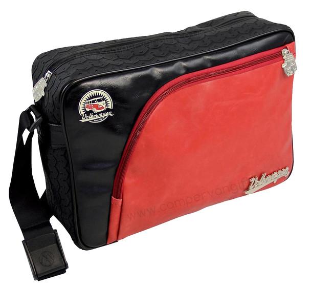 Tyre Tread VW Campervan Red & Black Shoulder Bag - Large