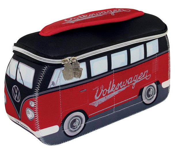 VW Black & Red Campervan Universal Neoprene Wash Bag