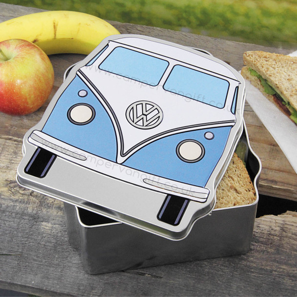 VW Blue Campervan Lunch Box Tin