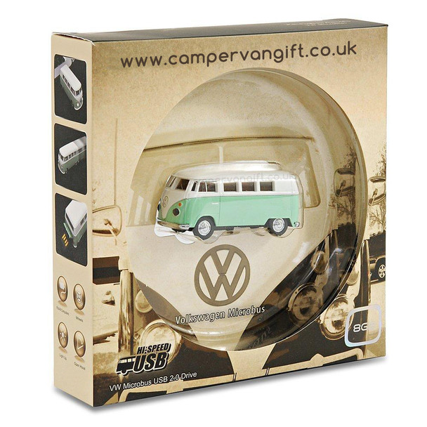 VW Green Campervan 8GB USB Memory Stick - Gift Boxed