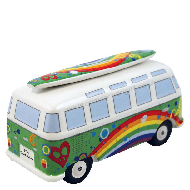VW T1 Peace Green Campervan Money Box