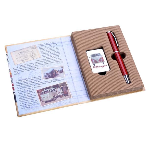 VW Campervan Lighter & Pen Red & Cream Gift Set