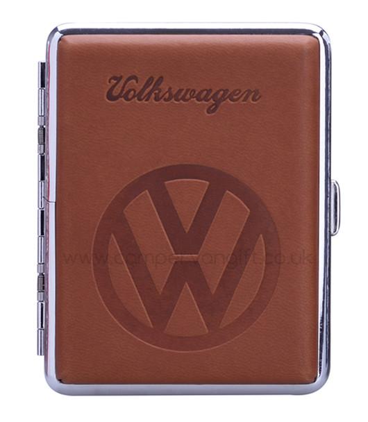 Luxury Embossed VW Campervan Cigarette Case - Tan Brown