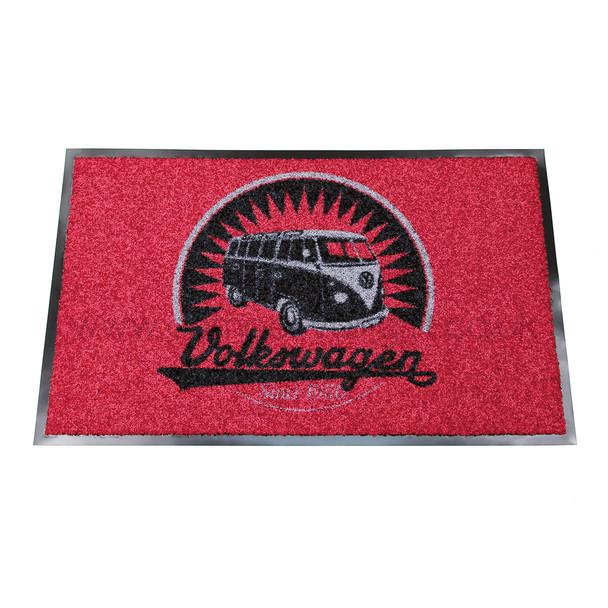 Retro Black & Red VW Campervan Doormat