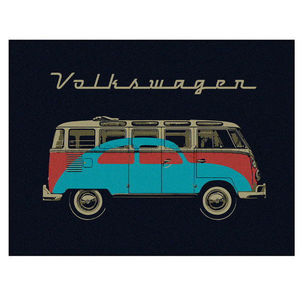 Volkswagen Bus & Bug Campervan Fleece Throw Blanket