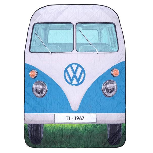 Volkswagen Blue Campervan Quilted Picnic Blanket
