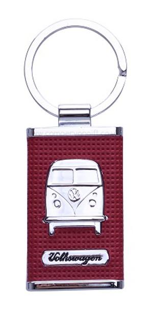 Chrome Embossed VW Campervan Key Ring - Red