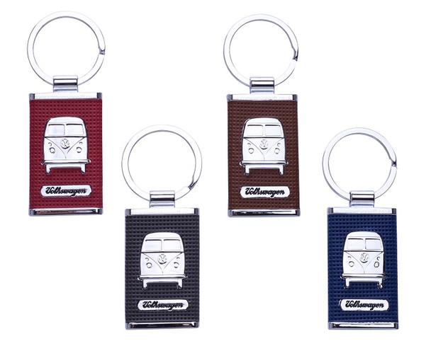 Chrome Embossed VW Campervan Key Ring