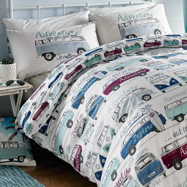 Volkswagen Surf's Up Campervan Duvet and Pillow Case Set (Floor Cushion Not Included)