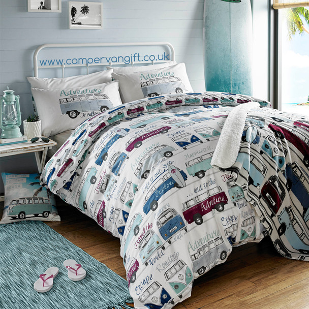 Volkswagen Catch The Waves Campervan Fleece Throw Blanket - Matching Duvet Set and Cushion also available.