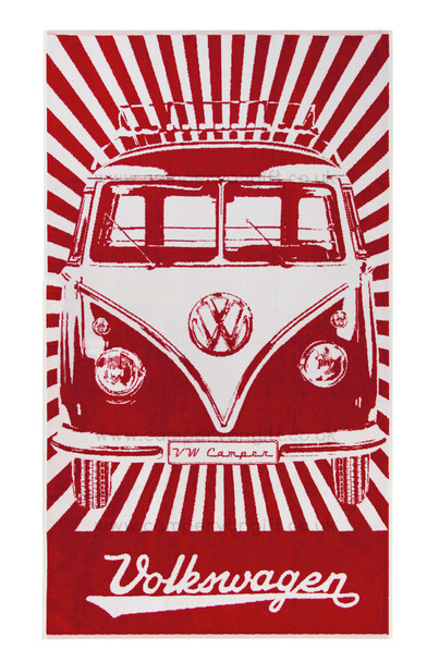 Volkswagen Red Campervan Beach Towel