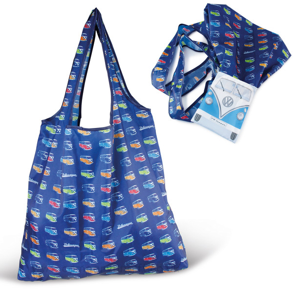VW Blue Campervan Foldable Shopper Bag