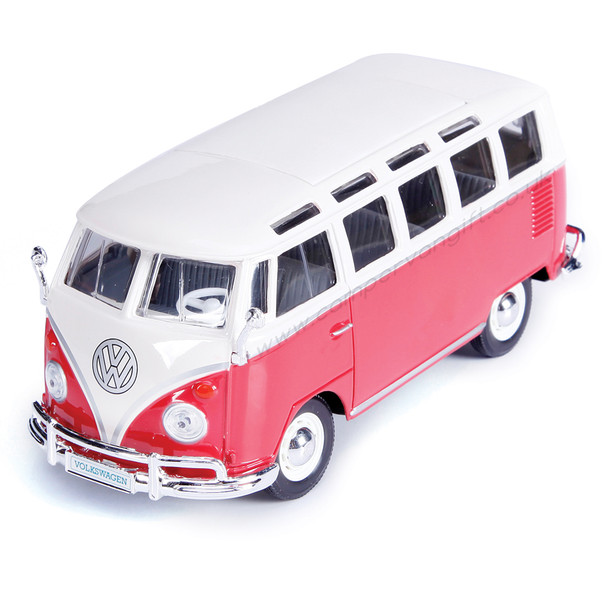 VW Red and White Samba Diecast Campervan